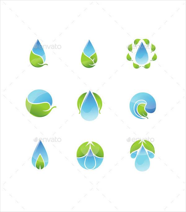 Water Leaf Icons Set