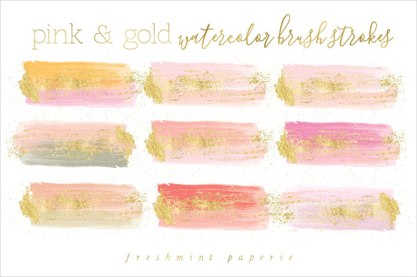 Pink & Gold Watercolor Brush Strokes