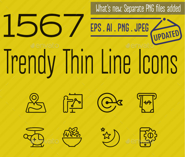 1567 Trendy Android Thin Line Icons