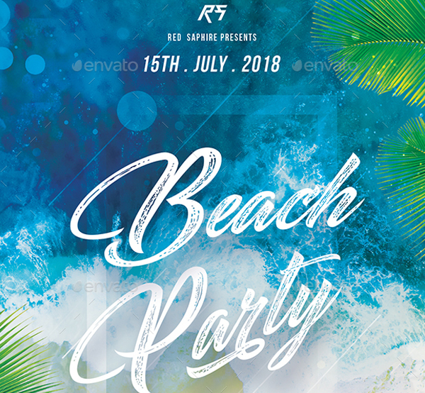 2 Color Options Beach Party Flyer Template