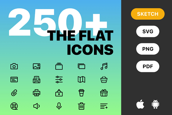 250+ Flat iOS and Android Web Icons