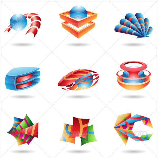 3D Colorful Abstract Icons