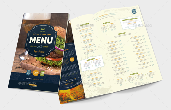 A3 Pub Menu Templates