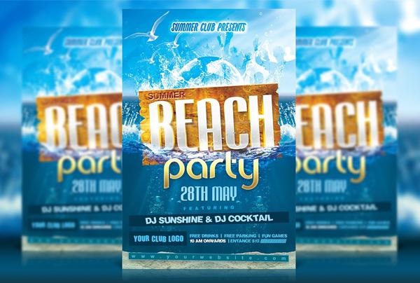 Beach Bash Party Flyer Template