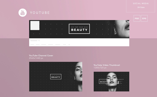 Beauty Skin Social Media Pack And Youtube Backgrounds