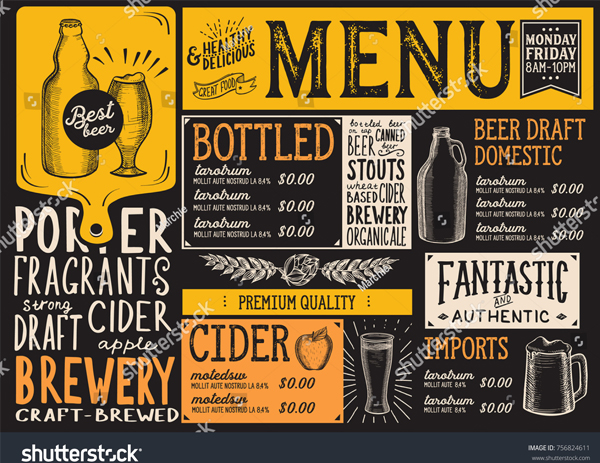 Beer Drink Menu Restaurant Template