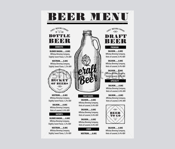 Beer Menu Restaurant Brochure Template