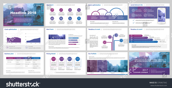 Best Purple and Blue Elements PowerPoint Template