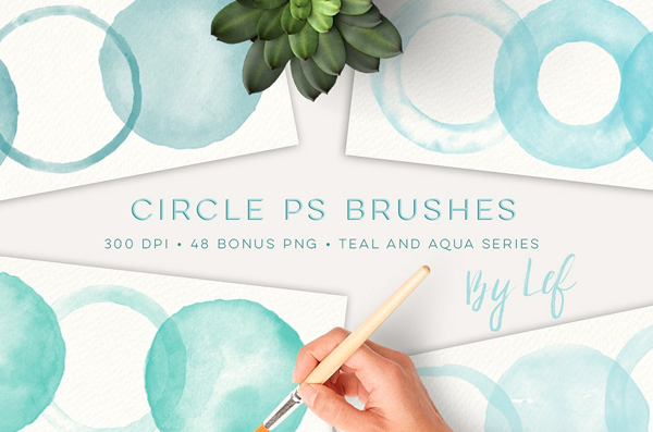 Circle Watercolor Photoshop Brushes
