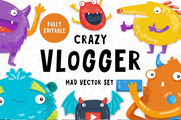 Crazy Vlogger Youtube Background Set