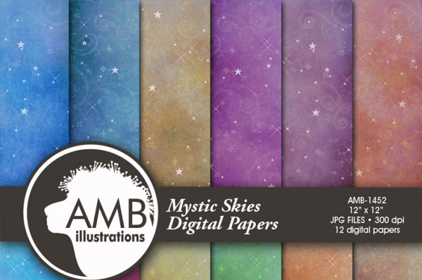 Digital Starlit Night Paper Photo Background