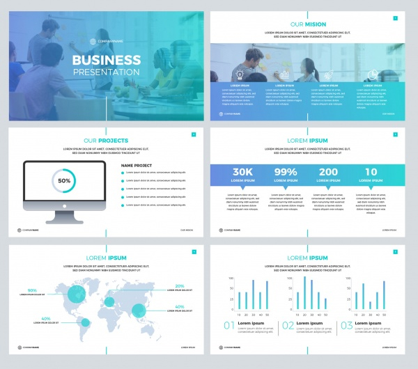 Free Download Business Presentation Template in Flat Style