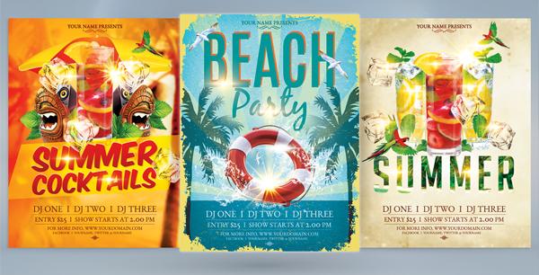 Grunge Beach Party Flyer Bundle