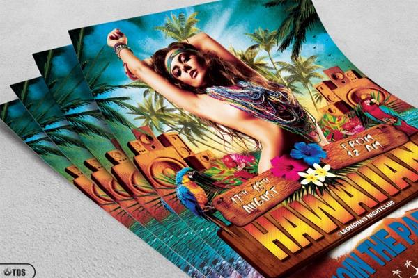 Hawaiian Beach Party Flyer Template