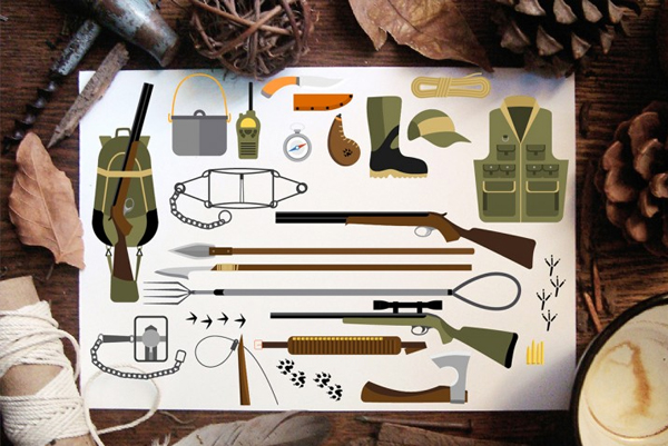 Hunting Equipment Abstract Icons