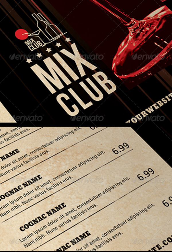 Mix Club Pub Menu Template