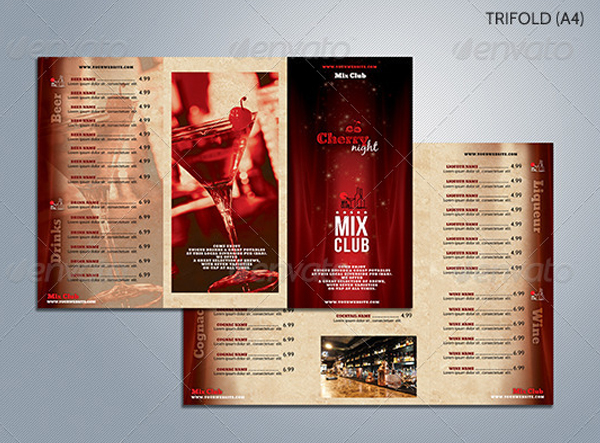 Cherry Night Trifold Pub Menu Template
