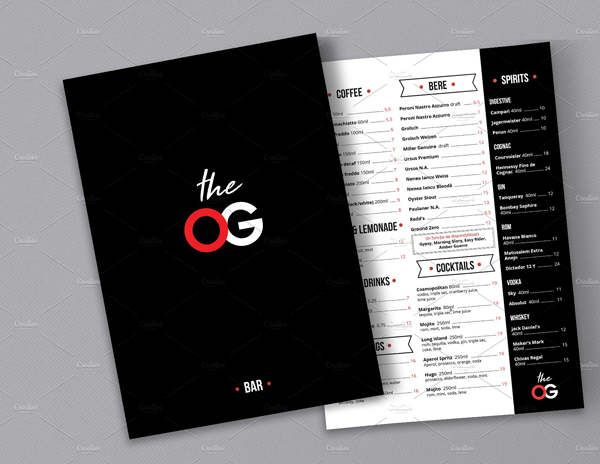 Modern Retro Menu and Drinks Menu