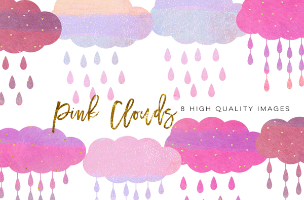 Pink Clouds Watercolor Photoshop Brushes