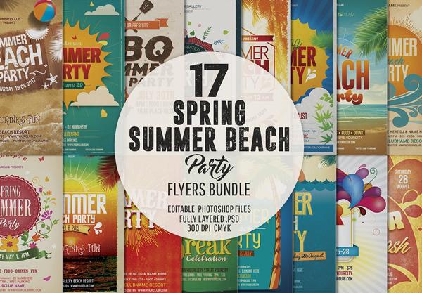 Spring Summer Beach Party Flyer Bundle