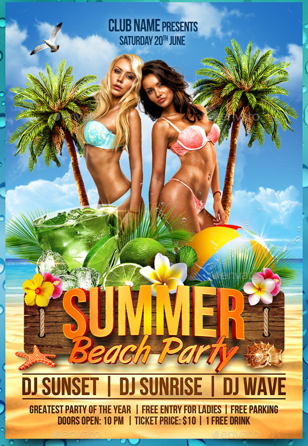 Amazing Beach Party Flyer Templates
