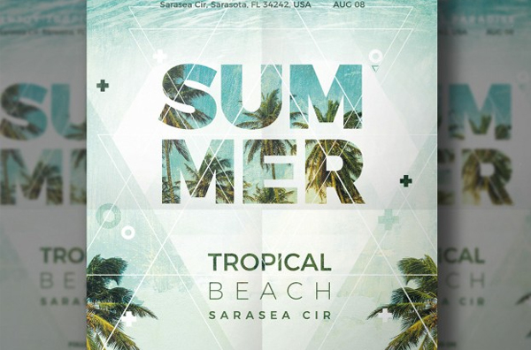 Summer Beach Party flyer Free PSD Download