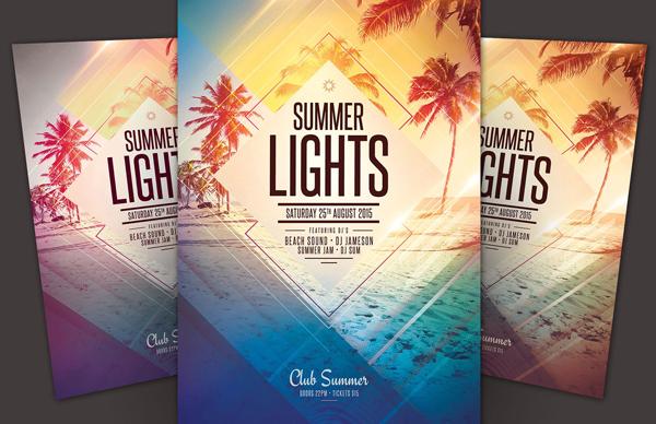 Summer Lights Beach Party Flyer Design