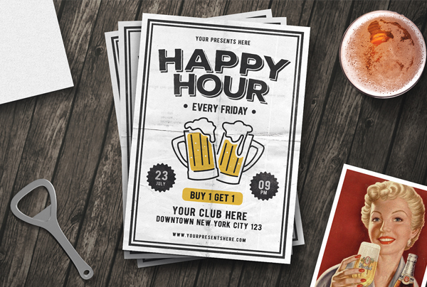 Vintage Happy Hour Pub Menu Template