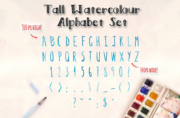 Watercolor Alphabet Photoshop Brushes