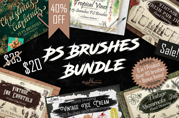 Watercolor Photoshop Brushes Bundle