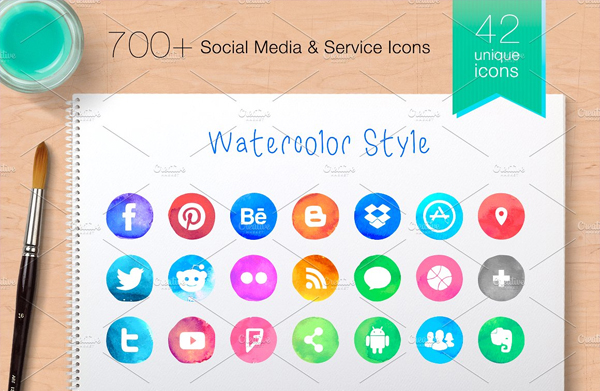 Watercolor Style Social Media Android Icons