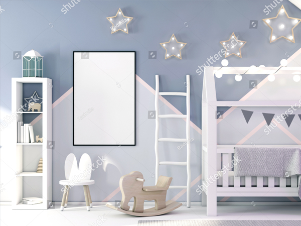 Beautiful Childrens Bedroom Mockup