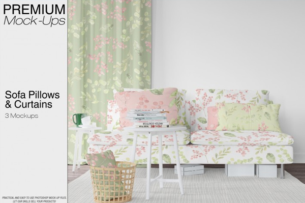 Beautiful Pillows & Curtains Mockup Pack
