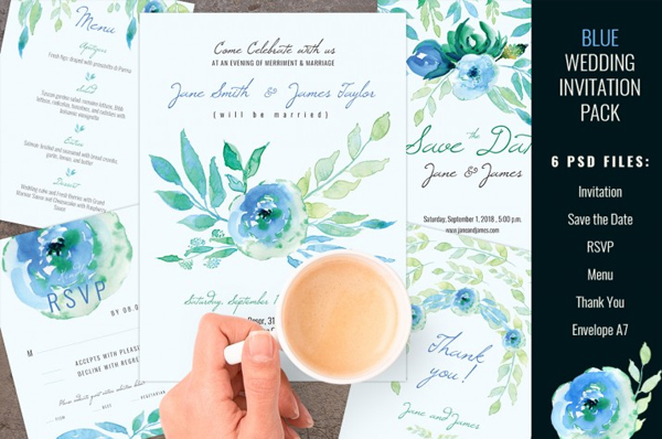 Blue Color Wedding Invitation Pack