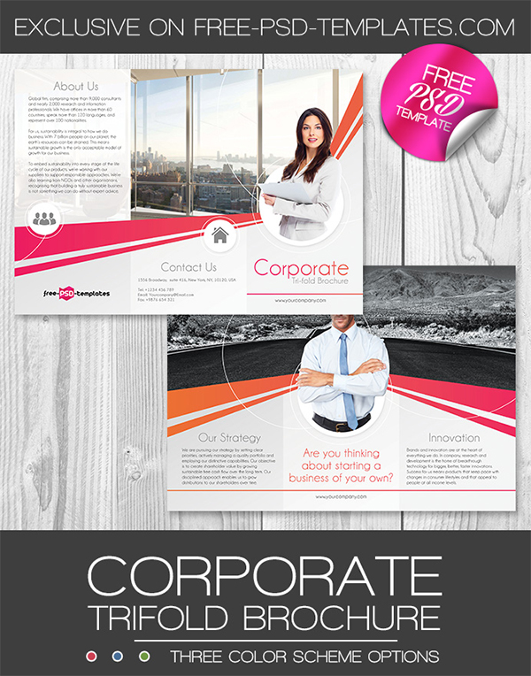 Corporate Free PSD Trifold Brochure Template