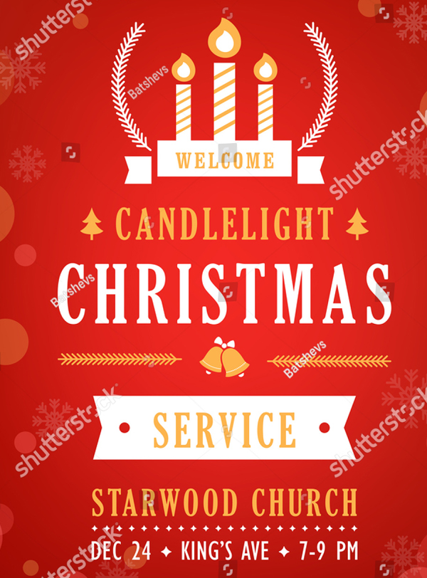 Christmas Candlelight Service Church Program Invitation