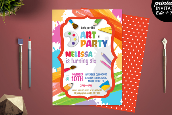 Colorful Art Party Invitation Template