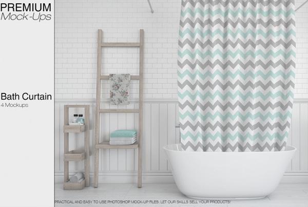 Colorful Bath Curtain Mockup Templates