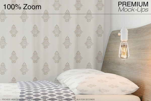 Bed Room Curtains Mockup Template