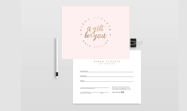 Double Sided Gift Certificate Design