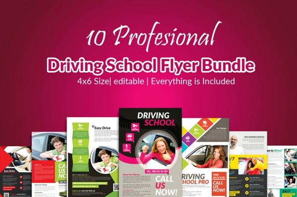 Driving School Flyer Templates Bundle