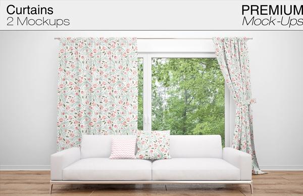 Editable Curtains Mockup