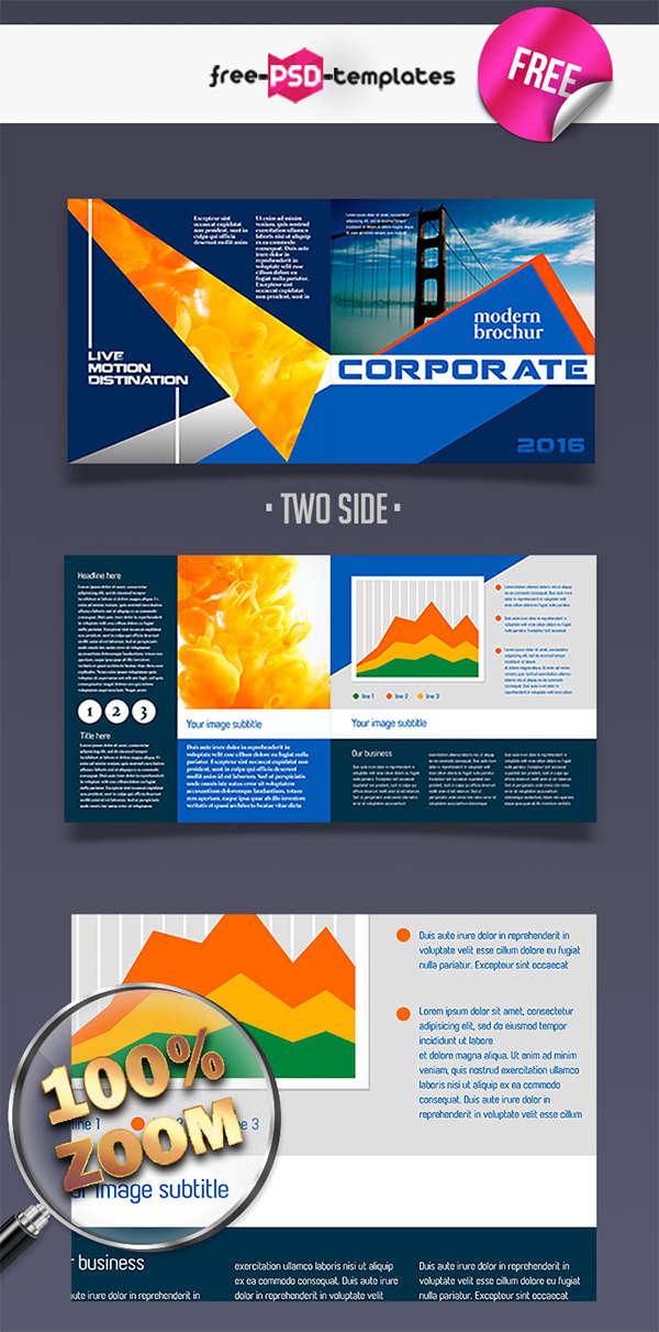 Free Photoshop Corporate Bifold Brochure