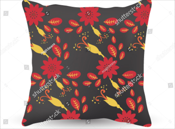 Floral Pattern Pillow Mockup