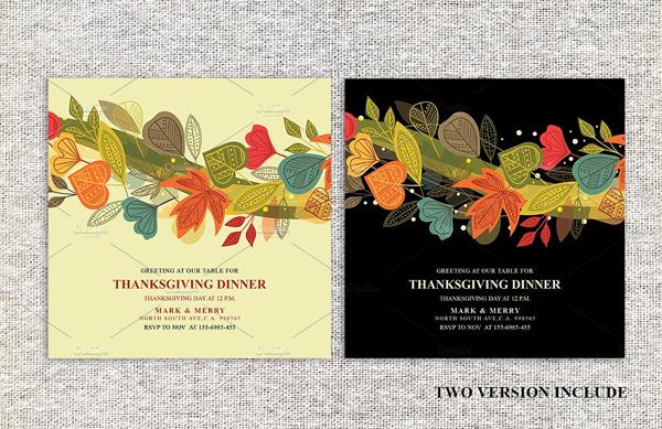 Floral Thanksgiving Dinner Invitations Card