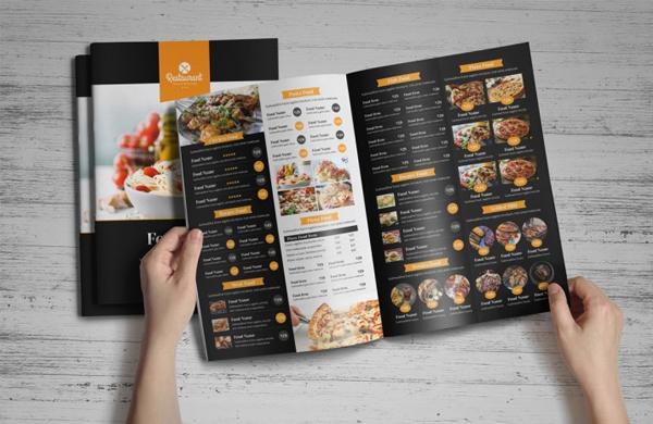 Food Menu Bifold Brochure Template