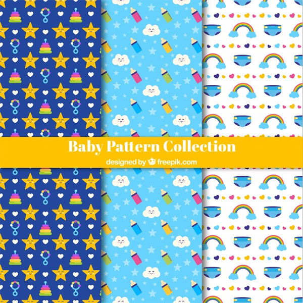 Free Vector Baby Patterns Collection Elements