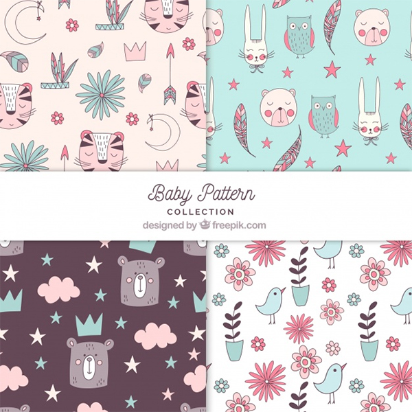 Free Vector Baby Patterns Collection
