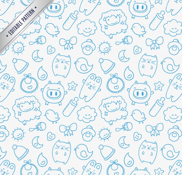 Free Vector Sketchy Baby Pattern