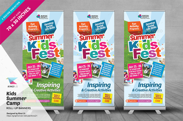 Kids Summer Camp Roll Up Banners